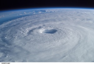 This close-up view of Hurricane Isabel was taken by one of the Expedition 7 crewmembers onboard the International Space Station on Sept. 15, 2003. In addition to the station's cameras, NASA satellites provided imagery of the storm, as it approached the eastern seaboard of the United States. Courtesy of NASA.